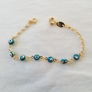 18k GF little girl turquoise beads bracelet. New